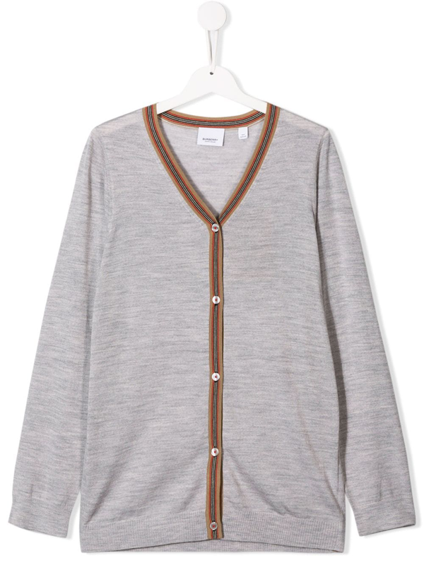 Burberry Teen Long Sleeve Cardigan In Grey