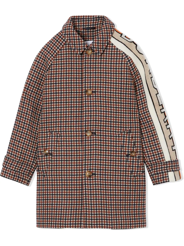 Burberry Teen Logo Trim Checked Coat In Brown