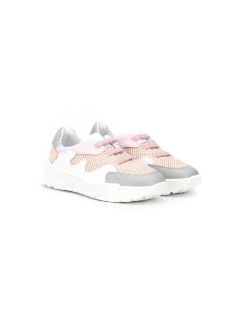 Emporio Armani Kids' Two-tone Lace-up Sneakers In White