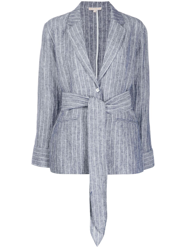 Gold Hawk Striped Tie Waist Blazer In Blue