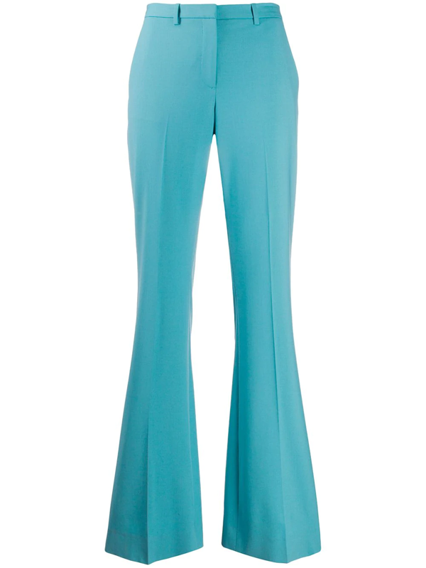 Theory Flared Mid-rise Trousers In Blue