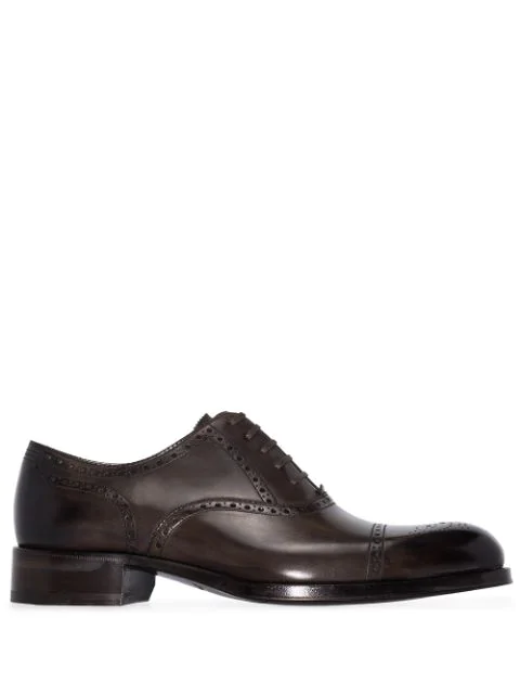 Tom Ford Edgar Medallion Cap-toe Shoe, Brown