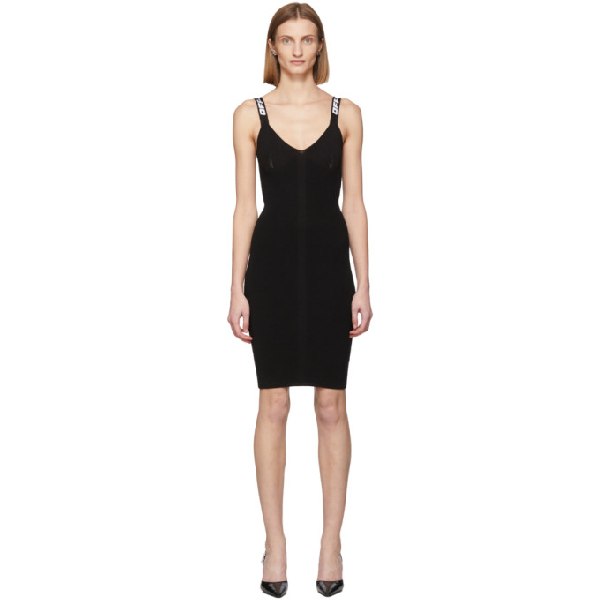 Off-white Canvas-trimmed Ribbed-knit Dress In Black