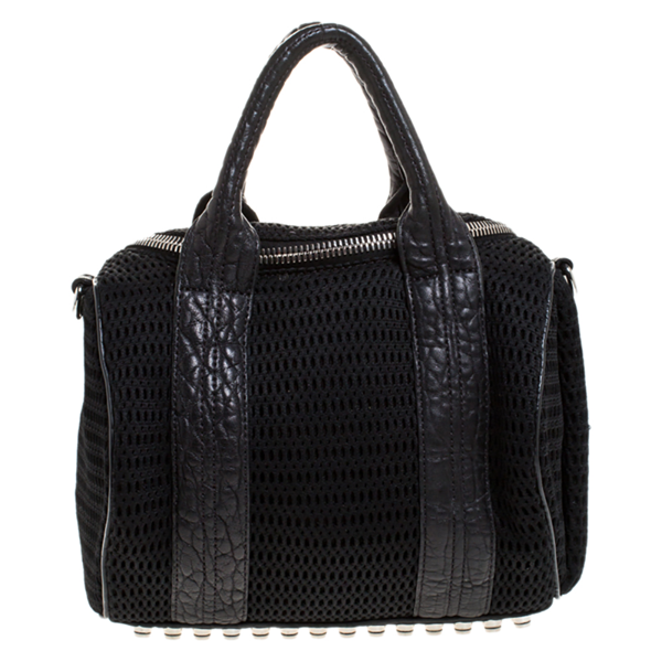 Pre-owned Alexander Wang Black Leather And Fabric Crochet Rocco Bag