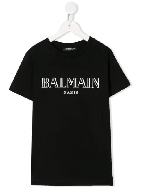 Balmain Kids' White Logo Print T-shirt In Black