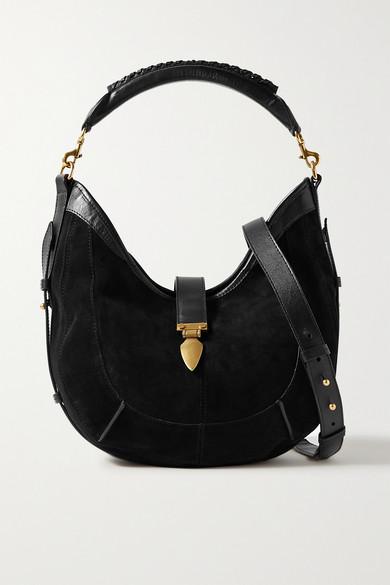 Isabel Marant Kaliko Leather-trimmed Suede Shoulder Bag In Black