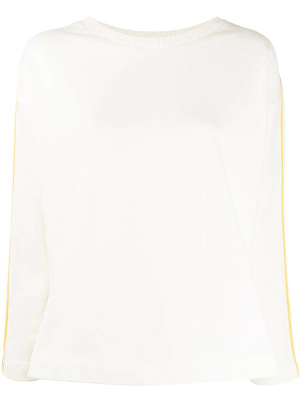 Chinti & Parker Stripe Detail Open-back Sweatshirt In White