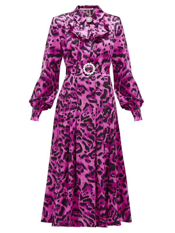 Alessandra Rich Crystal-buckle Leopard-print Silk Midi Dress In Purple