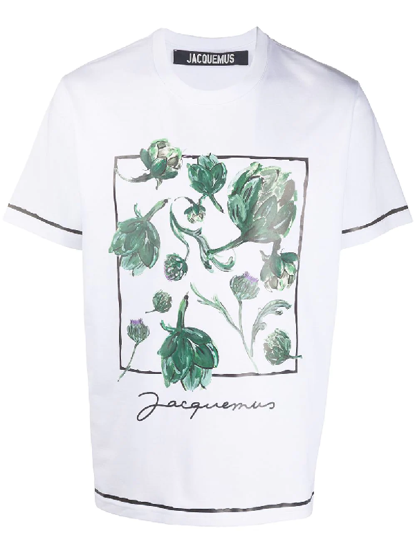 Jacquemus Mala Artichoke-print Cotton-jersey T-shirt In White