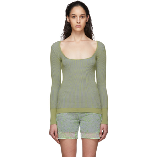Jacquemus Opening Ceremony La Maille Rosa Top In Green Stri