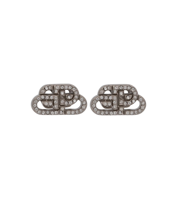 Balenciaga Bb Xs Mini Logo Stud Crystal Earrings In Silver