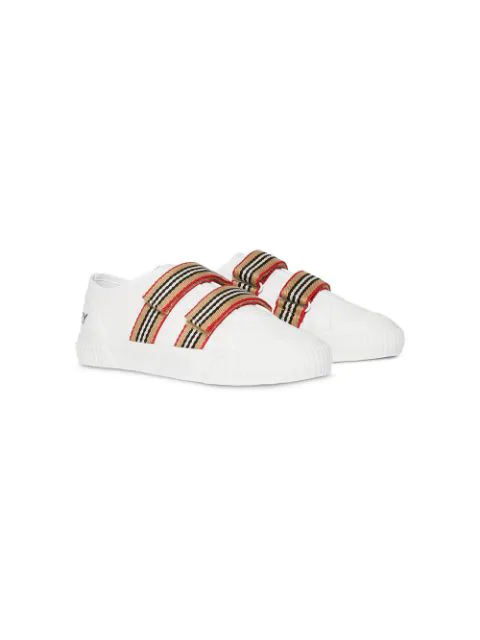 Burberry Kids' Icon Stripe Detail Sneakers In White