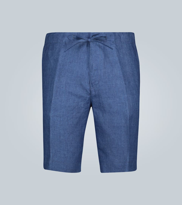 Loro Piana Coulisse Sprint Bermuda Linen Shorts In Blue