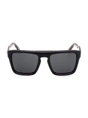 Zegna 55mm Plastic Square Sunglasses In Shiny Black Smoke