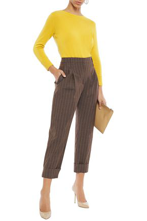 Brunello Cucinelli Cropped Pinstriped Wool Tapered Pants In Chocolate
