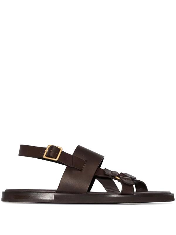 Ermenegildo Zegna Slingback Gladiator Sandals In Brown