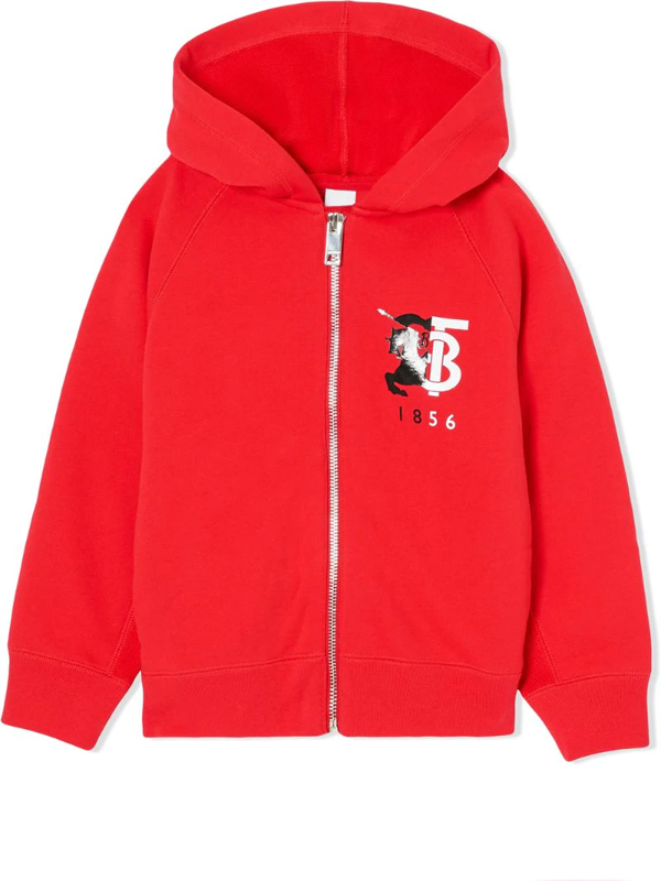 Burberry Babies' Henry Logo Graphic Cotton Hoodie In Red