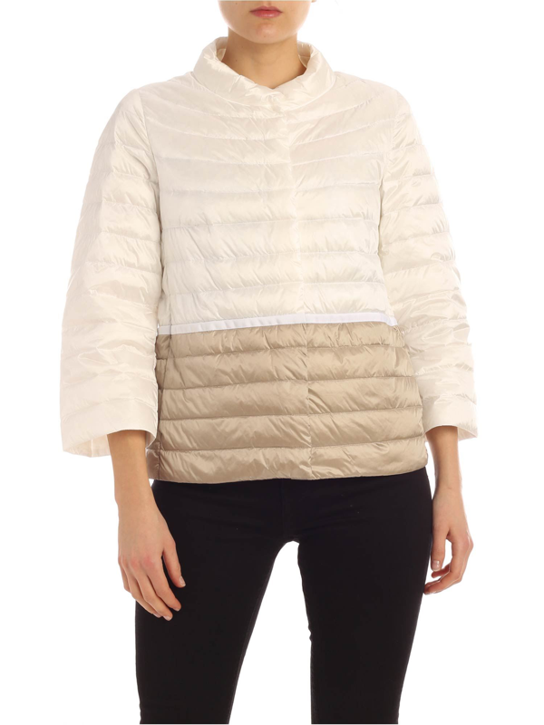 Add Down Jacket In White And Beige With Waist Ribbon
