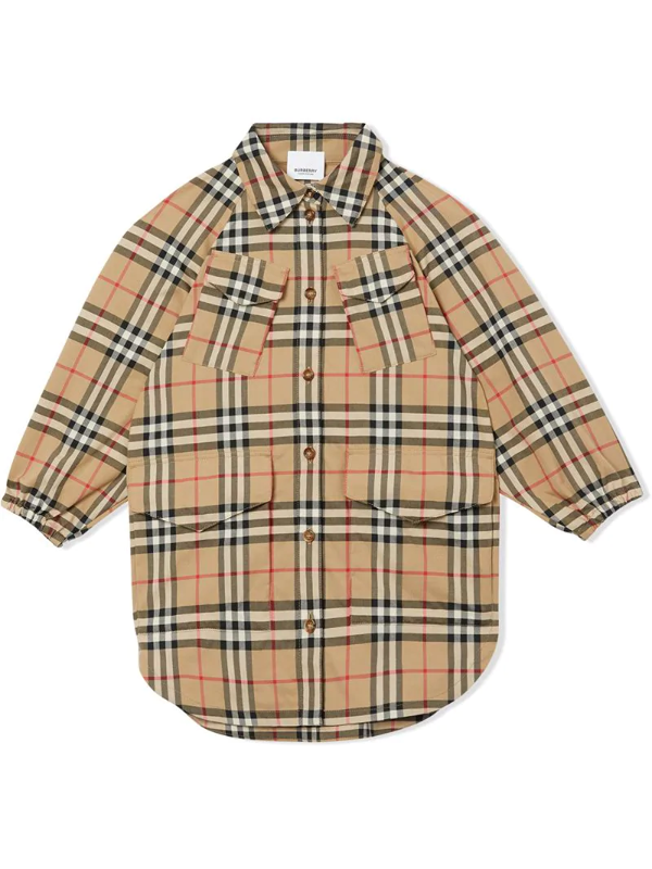 Burberry Kids' Teigan Check Print Jacket In Archive Beige