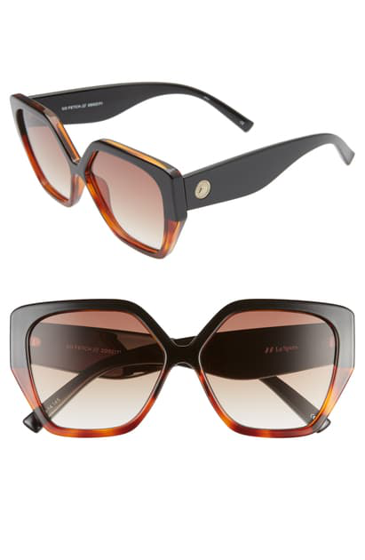 Le Specs So Fetch 58mm Gradient Square Cat Eye Sunglasses In Black Tortoise/ Brown