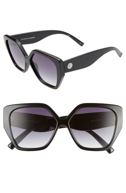 Le Specs So Fetch 58mm Gradient Square Cat Eye Sunglasses In Black/ Smoke