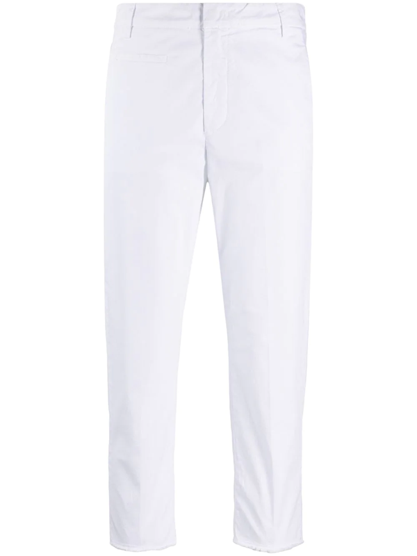 Dondup Cropped Fitted Trousers In White