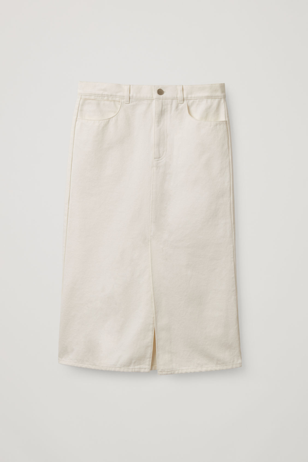 Cos Organic-cotton Long Denim Skirt In White