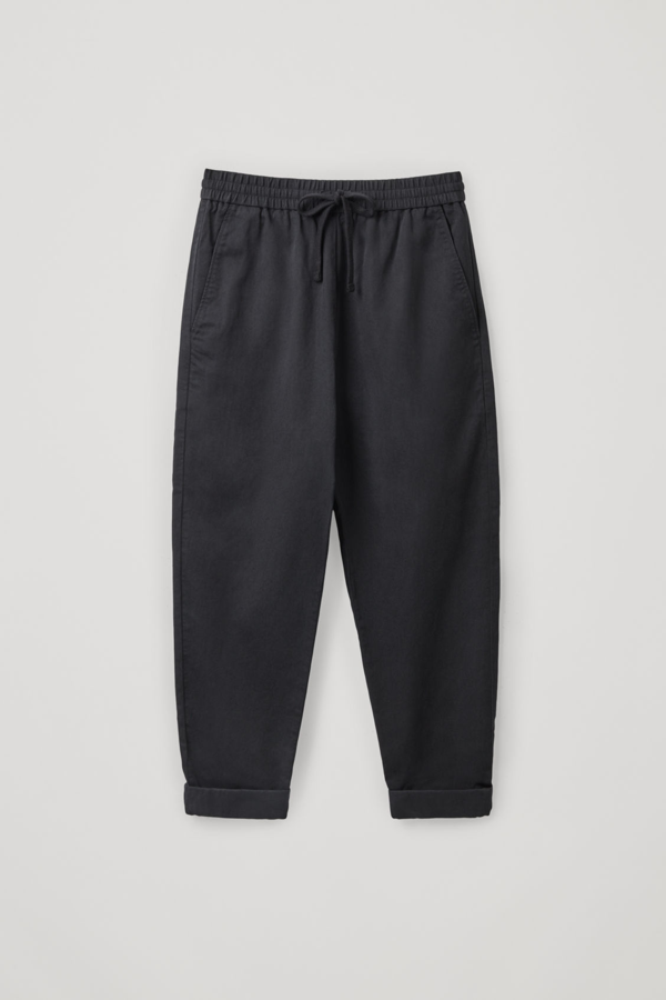 Cos Relaxed Cotton-linen Pants In Black