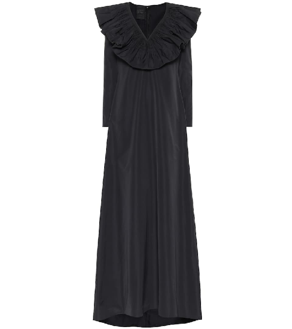 Valentino Ruffle-neck Cotton-blend Faille Gown In Black