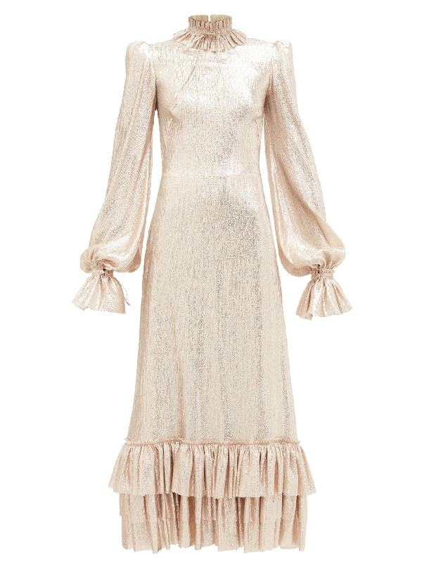 The Vampire's Wife The Cinderella High-neck Ruffled LamÉ Dress In Gold