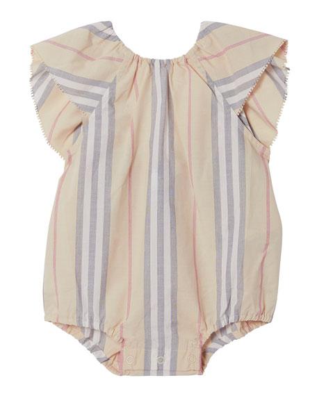 Burberry Kids' Girls' Ruffled Icon Stripe Bodysuit - Baby In Pale Stone Stripe