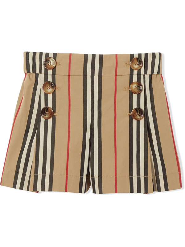 Burberry Kids' Tamara Icon Stripe Sailor Shorts In Neutrals