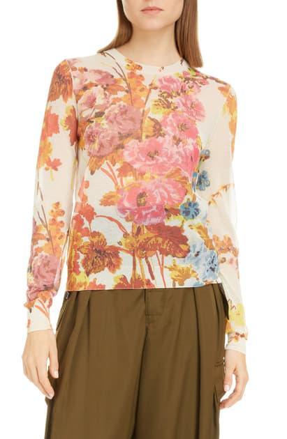 Dries Van Noten Jessy Floral Print Sweater In Ecru