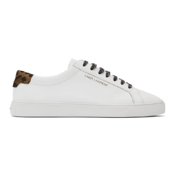 Saint Laurent Andy Sneakers In Smooth Leather And Camouflage-print Canvas In Optic White