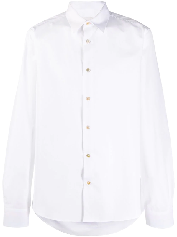 Paul Smith Point Collar Cotton-poplin Shirt In White