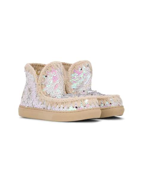 Mou Kids' Sequin Eskimo Sneakers In Pink