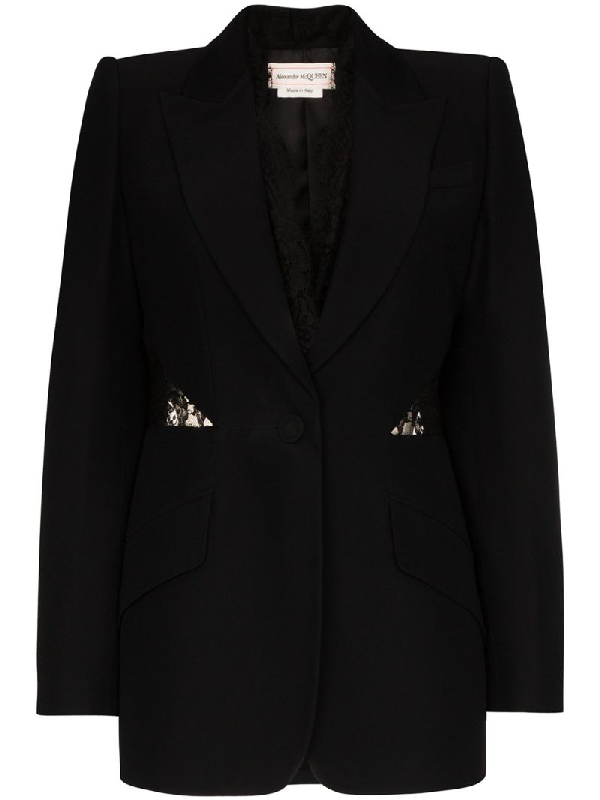 Alexander Mcqueen Backless Light Wool Single Breast Jacket In Black