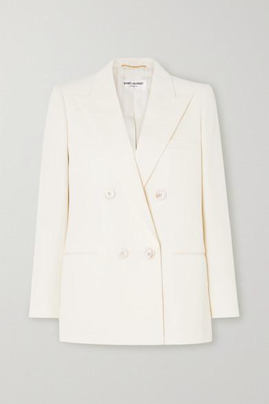Saint Laurent Double Breasted Virgin Wool Twill Blazer In Ivory