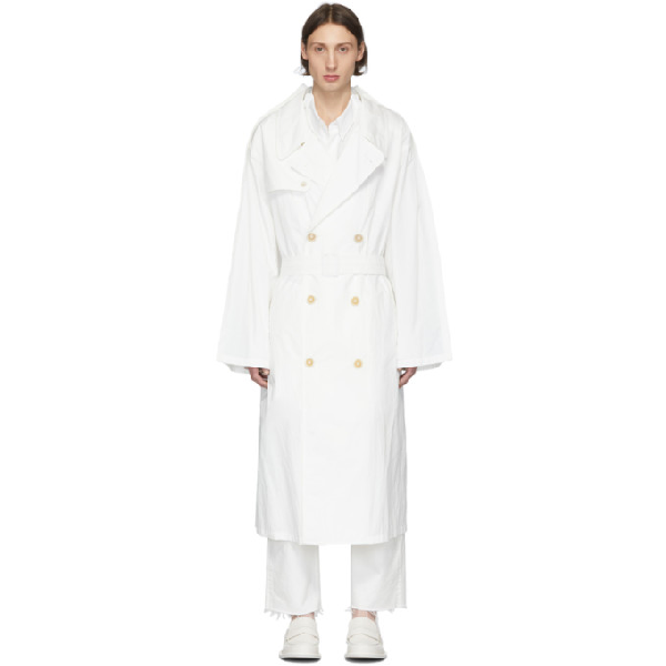Maison Margiela Oversize Recycled Nylon Trench Coat In 101 Offwht