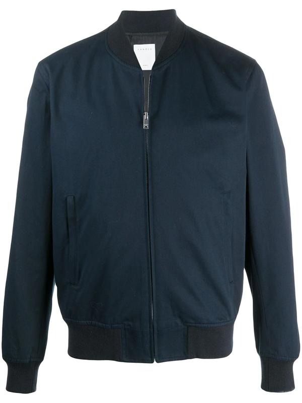 Sandro Ribbed-neck Zip-through Bomber Jacket In Blue