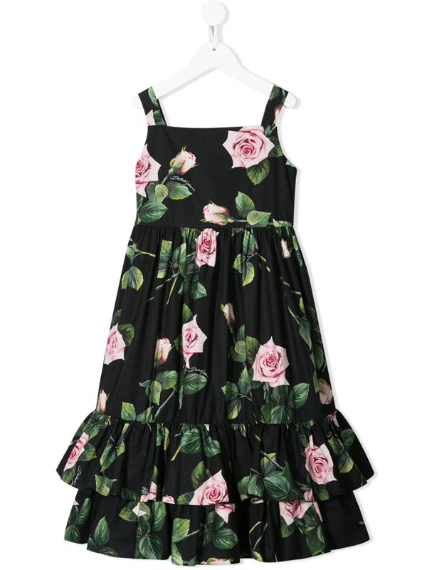 Dolce & Gabbana Kids' Rose Print Cotton Poplin Dress In Black