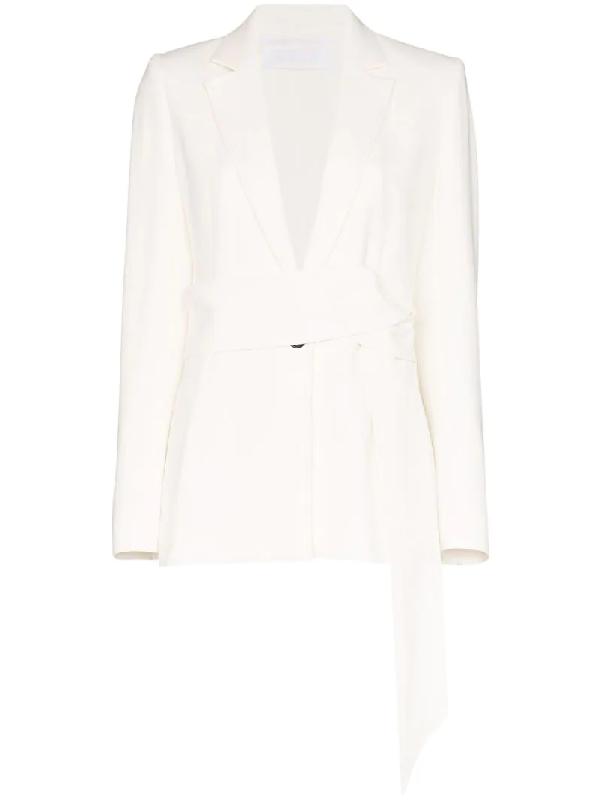 Roland Mouret Belair Single-breasted Tie Blazer In White