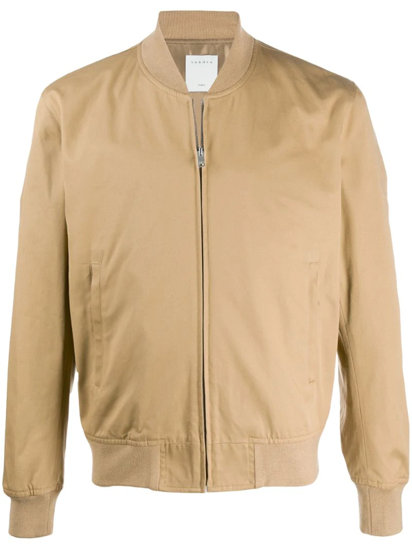 Sandro Ribbed-neck Zip-through Bomber Jacket In Brown
