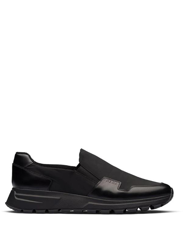 Prada Men's Stratus Leather Slip-on Sneakers In Black