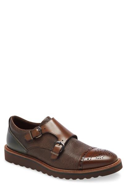 Ike Behar Monza Monk Strap Shoe In Brown