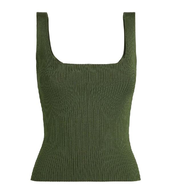 Sandro Alya Ribbed Sleeveless Sweater In Kaki