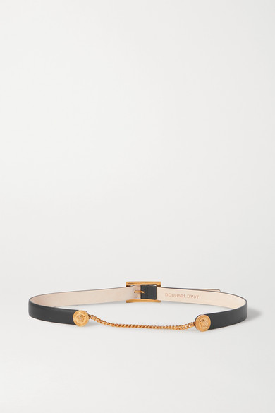 Versace Chain-embellished Leather Waist Belt In Black