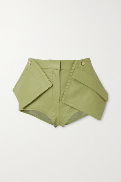 Jacquemus Le Short Boca Paneled Leather Shorts In Light Green