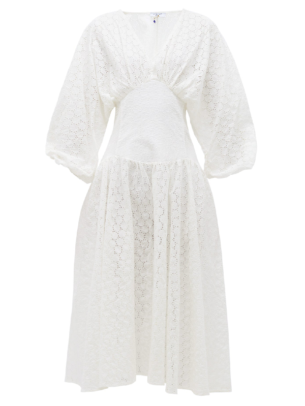My Beachy Side Ruched-sleeve Broderie-anglaise Cotton Midi Dress In White