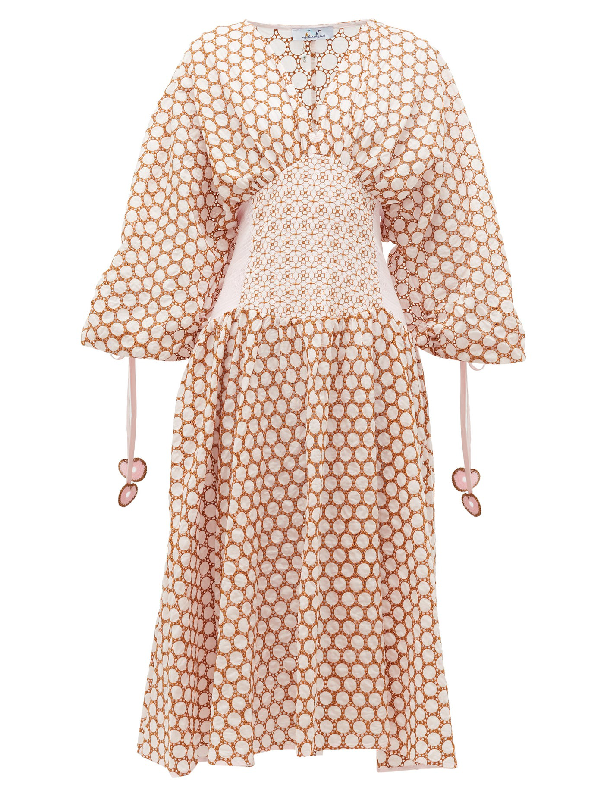 My Beachy Side Ruched-sleeve Broderie-anglaise Cotton Midi Dress In Light Pink
